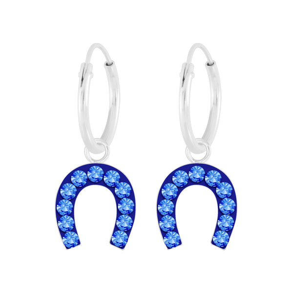 Royal Blue Horse Shoe Charm Sterling Silver Mini Hoop Earrings 12mm - I love silver jewellery
