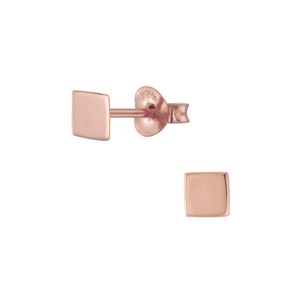 Rose Gold Plated Square Sterling Silver Very Small Stud Earrings 4mm - I love silver jewellery