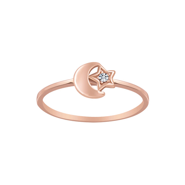 Rose Gold Plated Moon & Star Crystal Stacking Ring - I love silver jewellery