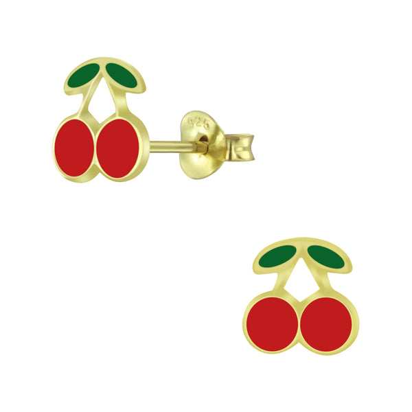 Red Cherry Sterling Gold Plated Stud Earrings