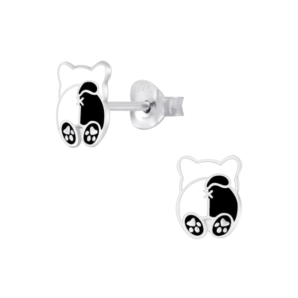 Girls Black & White Bear Sterling Silver Stud Earrings - I love silver jewellery