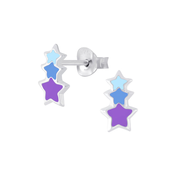 Girls Blue & Purple Triple Star Sterling Silver Mini Stud Earrings - I love silver jewellery