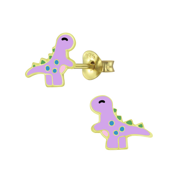 Dinosaur Gold Plated Sterling Silver Stud Earrings 8mm - I love silver jewellery