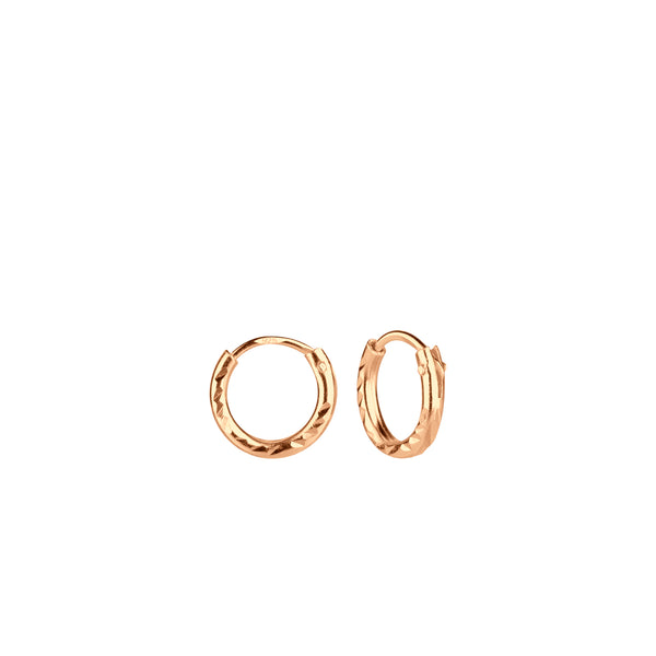 Rose Gold Plated Diamond Cut Tiny Hoop Sterling Silver Earrings 8mm