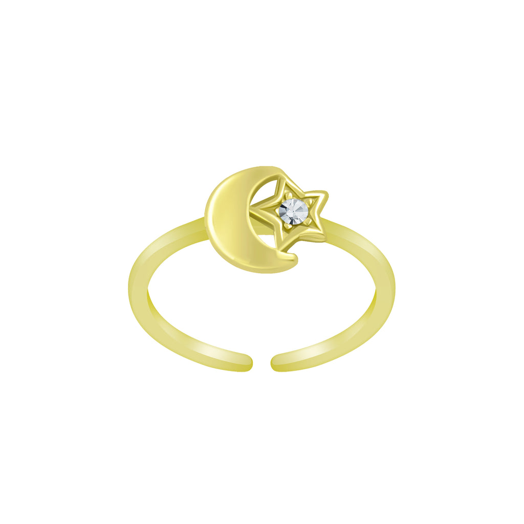 Gold Plated Moon & Stars Crystal Sterling Silver Toe Ring