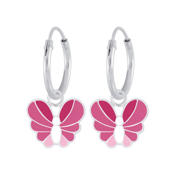 Pink Multi Butterfly Sterling Silver Mini Hoop Earrings 12mm - I love silver jewellery