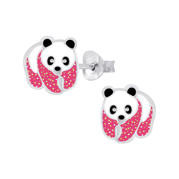 Girls Pink Glitter Black & White Panda Sterling Silver Stud Earrings 9mm - I love silver jewellery