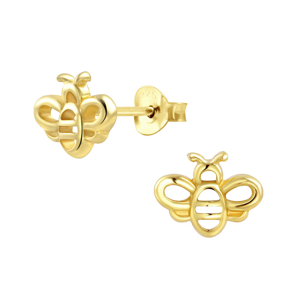 Bumble Bee Gold Plated Sterling Silver Stud Earrings