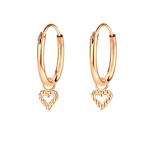 Rose Gold Plated Circle Heart Charm Sterling Silver Mini Hoop Earrings 12mm