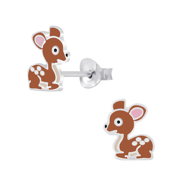 Girls Brown Deer Sterling Silver Stud Earrings - I love silver jewellery