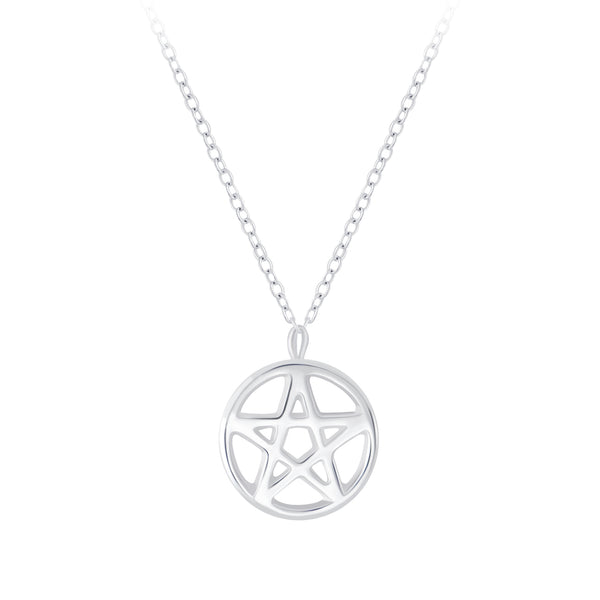 Pentagram Star Cut Out Sterling Silver Necklace - I love silver jewellery