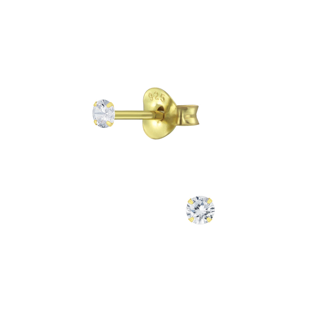 Clear Crystal Yellow Gold Plated Sterling Silver Tiny Stud Earrings 2mm - I love silver jewellery