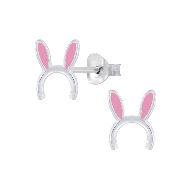 Girls Pink Bunny Ears Sterling Silver Stud Earrings