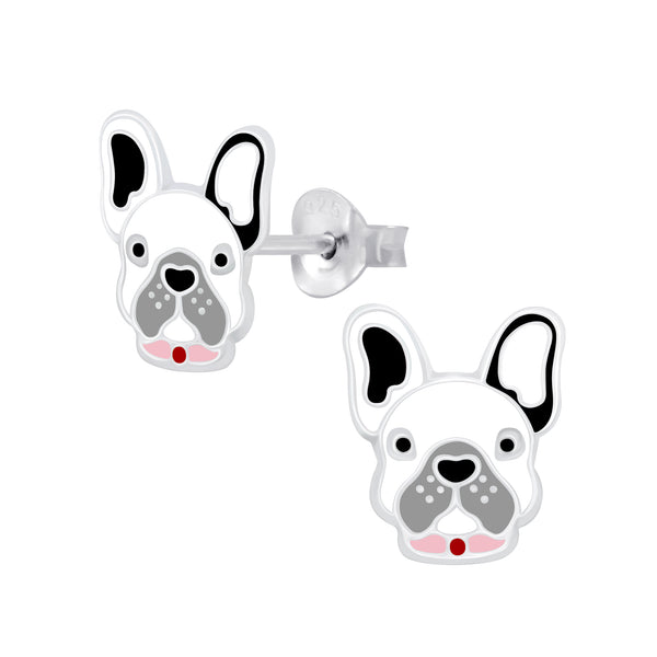 Girls French Bulldog Sterling Silver Stud Earrings - I love silver jewellery