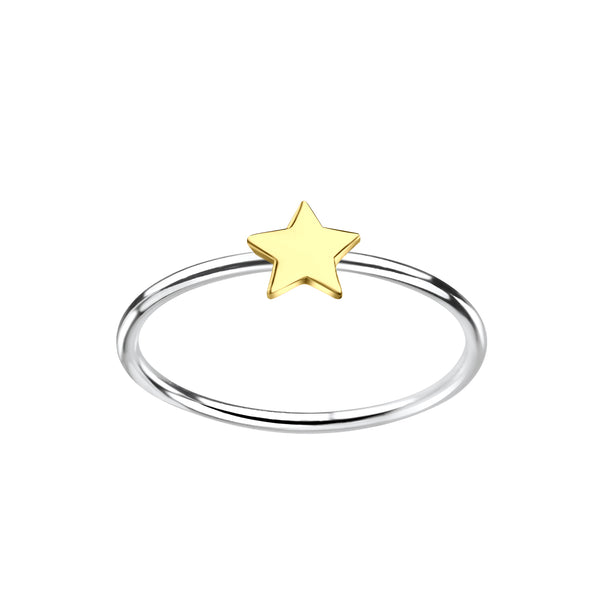 Yellow Gold Plated Star Two Tone Sterling Silver Stacking Ring