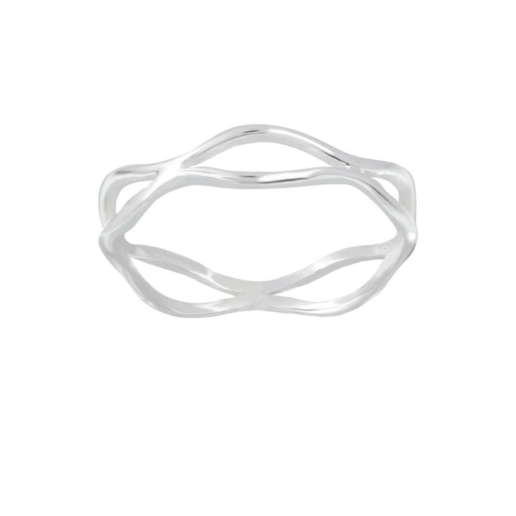 Double Wave Sterling Silver Ring 4mm