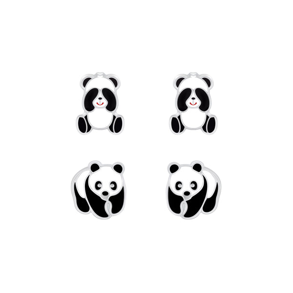 2 Girls Black & Panda Sterling Silver Stud Earrings Set