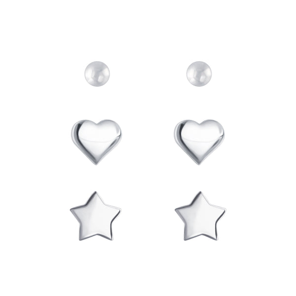 3 Heart Star Ball Sterling Silver Mini Stud Earrings Set
