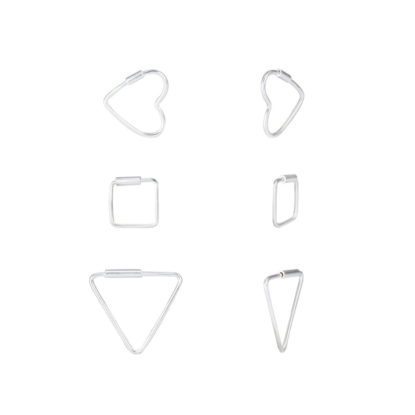 Heart Square Triangle Sterling Silver Mini Hoop Earrings Set