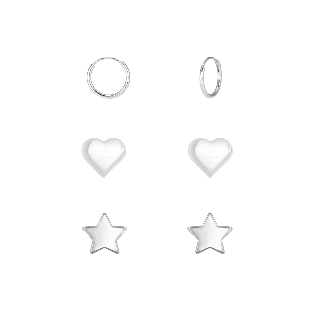 Heart Star & Mini Sleeper Hoop Sterling Silver Earrings Set 4mm/5mm/10mm