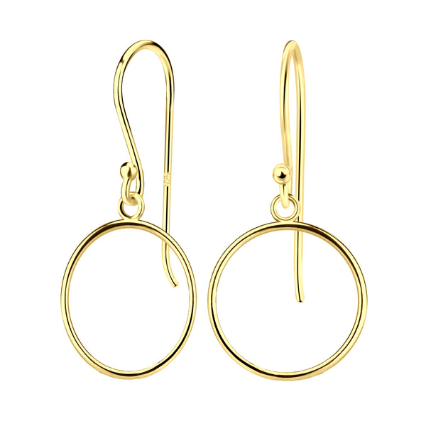 Yellow Gold Plated Simple Circle Sterling Silver Drop Earrings 14mm