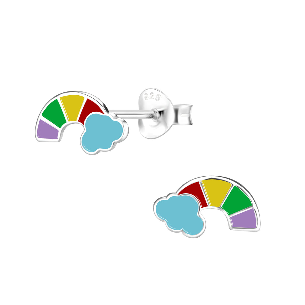 Girls Blue Rainbow Cloud Sterling Silver Stud Earrings
