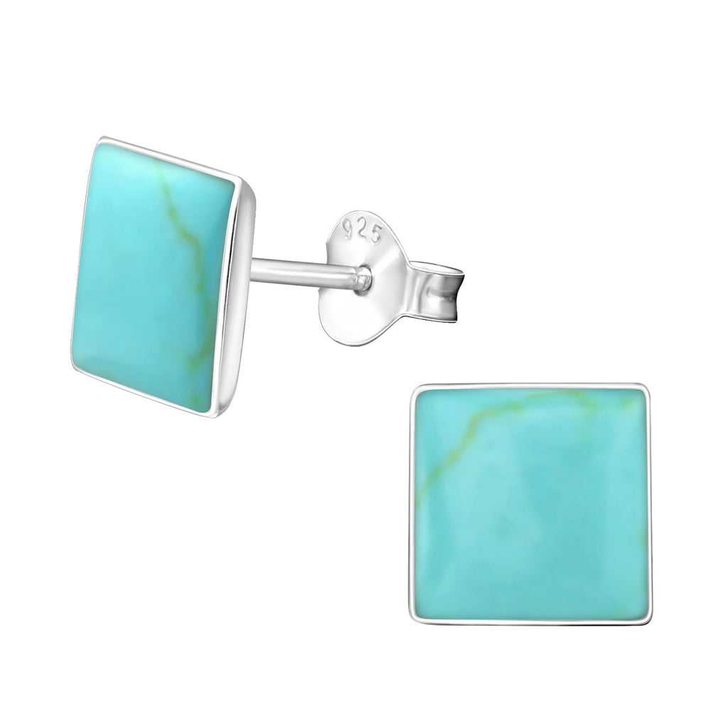 Turquoise Shell Square Sterling Silver Stud Earrings 8mm