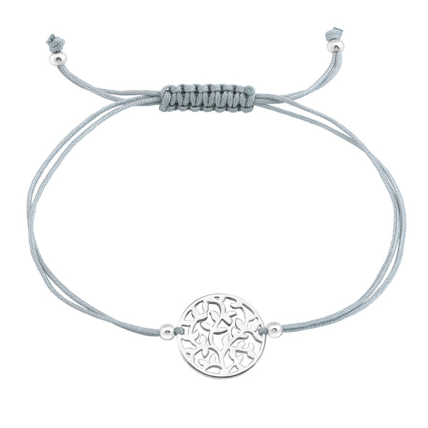Tree Cut Out Disk Grey Cord Sterling Silver Bracelet