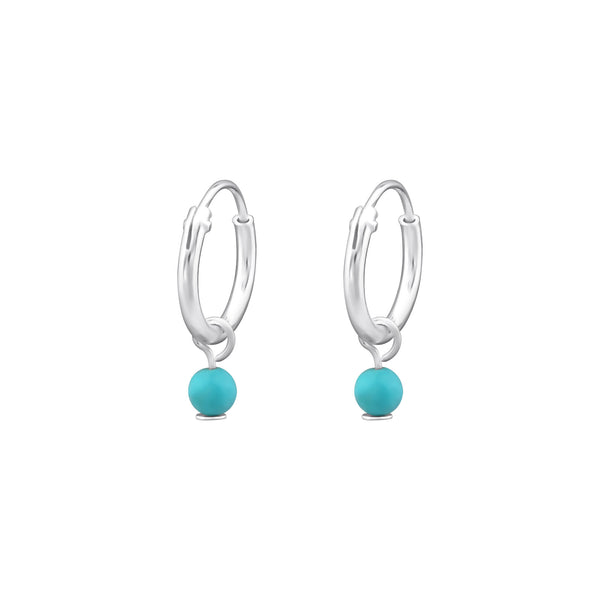 Turquoise Blue Bead Sterling Silver Tiny Hoop Earrings 10mm