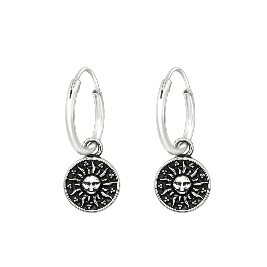 Engraved Sun Ethnic Disk Sterling Silver Mini Hoop Earrings 12mm