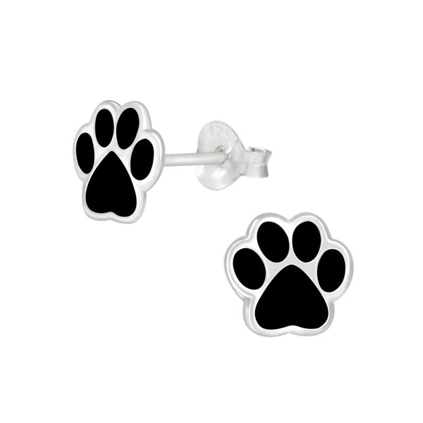Black Paw Print Sterling Silver Stud Earrings 8mm - I love silver jewellery