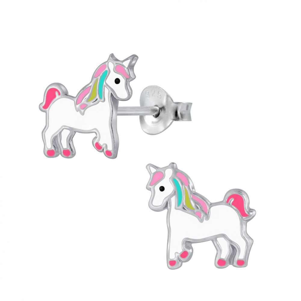 Girls Multi-Coloured Standing Unicorn Sterling Silver Stud Earring - I love silver jewellery