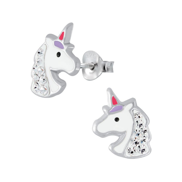 Cute Crystal Unicorn Head Sterling Silver Stud Earrings - I love silver jewellery
