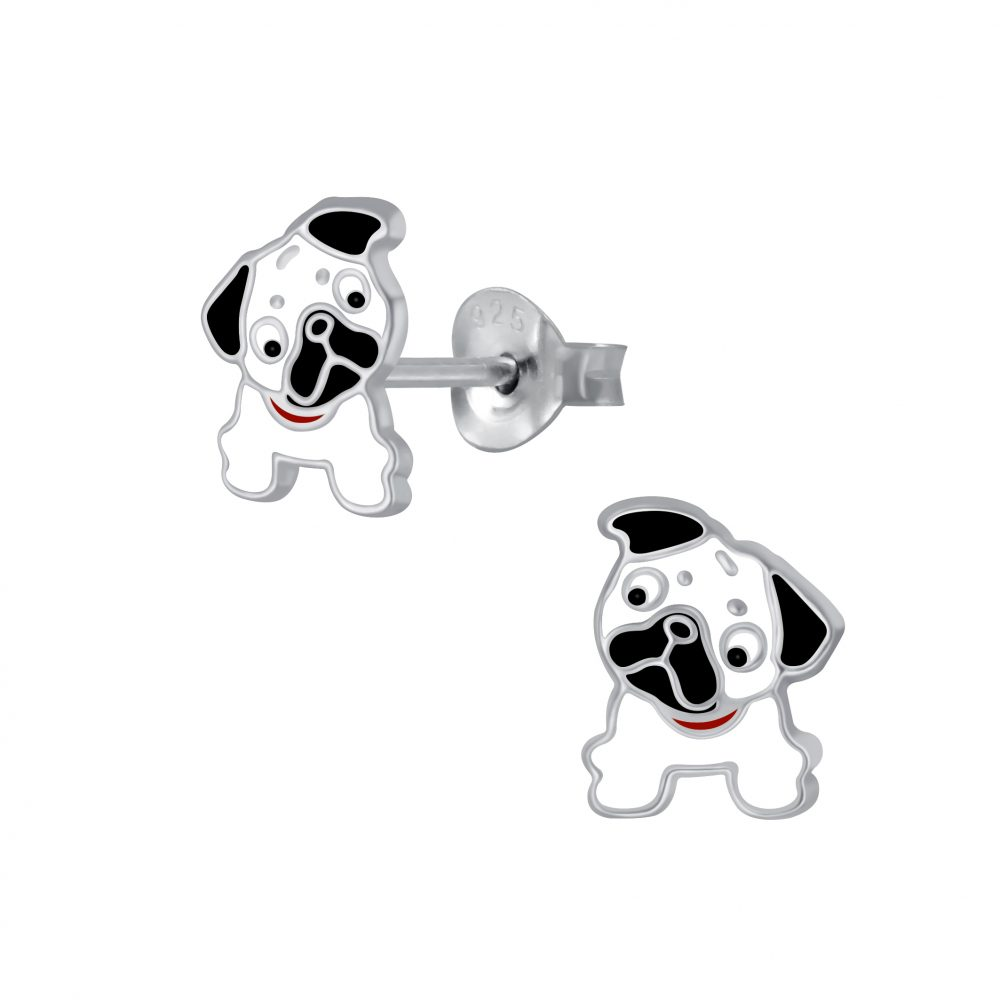 Girls White Pug Sterling Silver Stud Earrings - I love silver jewellery