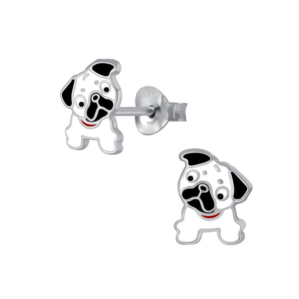 Girls White Bulldog Sterling Silver Stud Earrings - I love silver jewellery