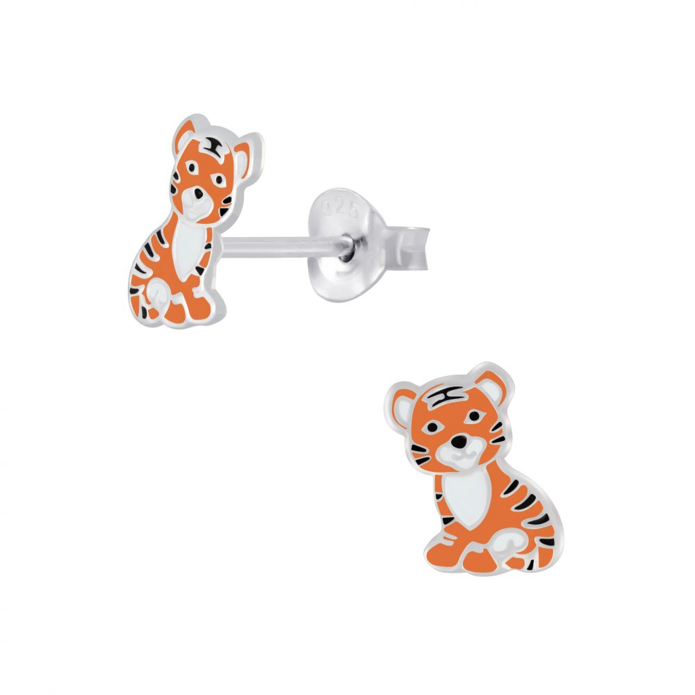 Girls Orange & Black Tiger Sterling Silver Stud Earrings 9mm - I love silver jewellery