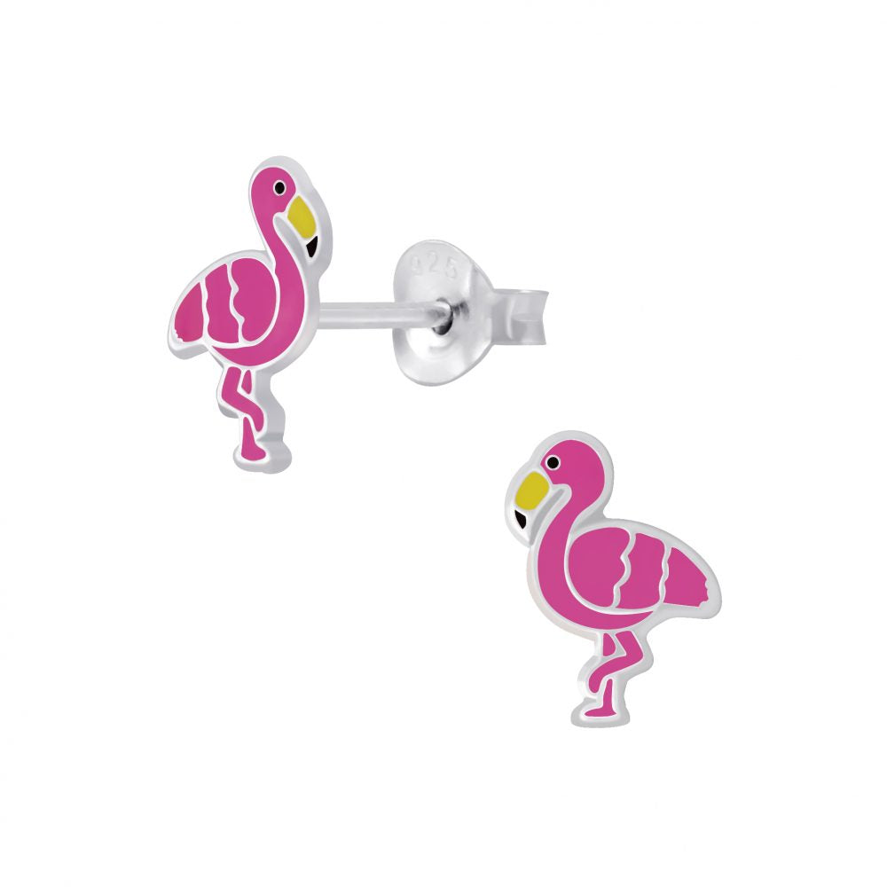 Girls Cerise Pink Flamingo Sterling Silver Stud Earrings - I love silver jewellery