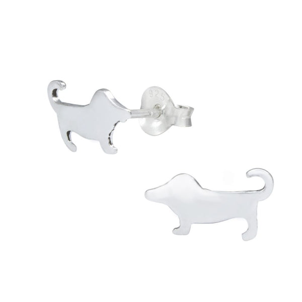 Simple Sausage Dog Sterling Silver Stud Earrings - I love silver jewellery
