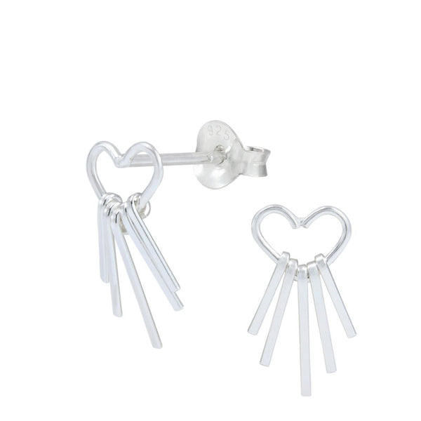 Open Heart Graduated Bar Charm Sterling Silver Stud Earrings