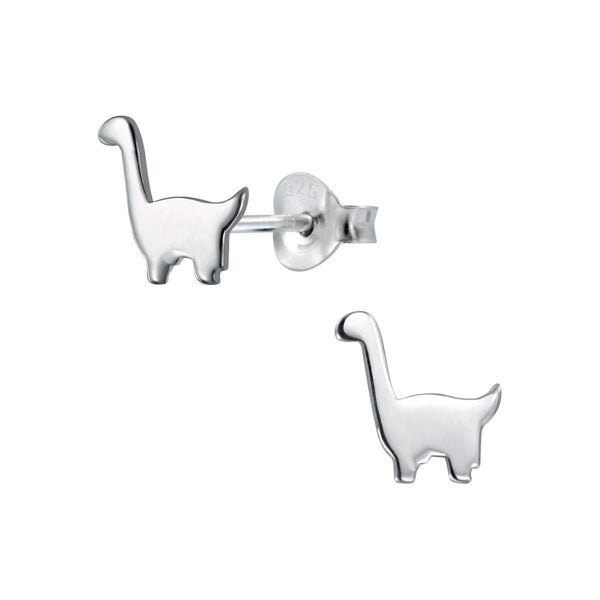 Diplodocus Dinosaur Sterling Silver Stud Earrings - I love silver jewellery