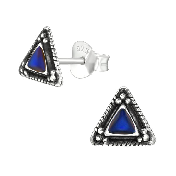Ethnic Triangle Colour Changing Sterling Silver Stud Earrings