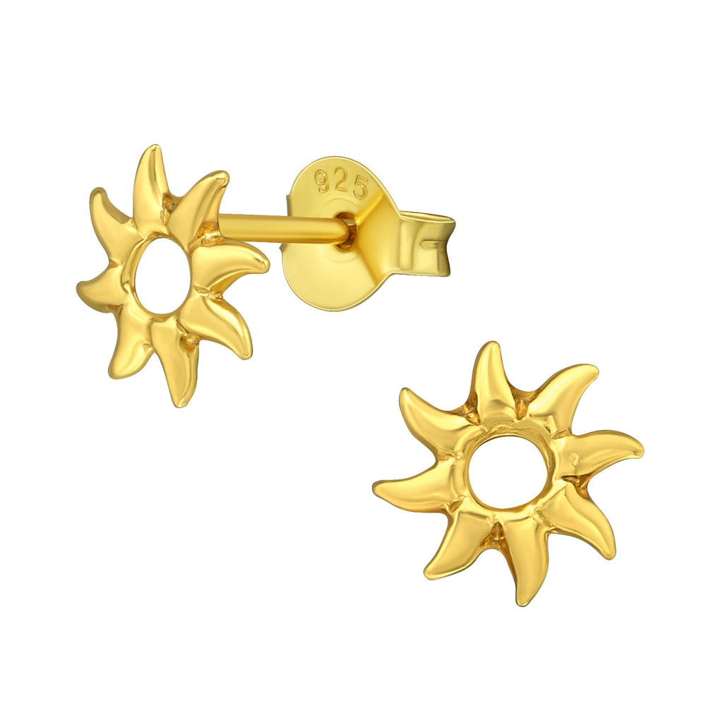 Gold Plated Sun Cut Out Sterling Silver Small Stud Earrings