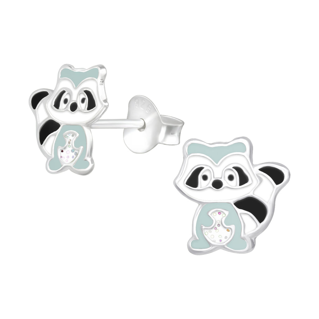 Grey & Black Raccoon Sterling Silver Stud Earrings