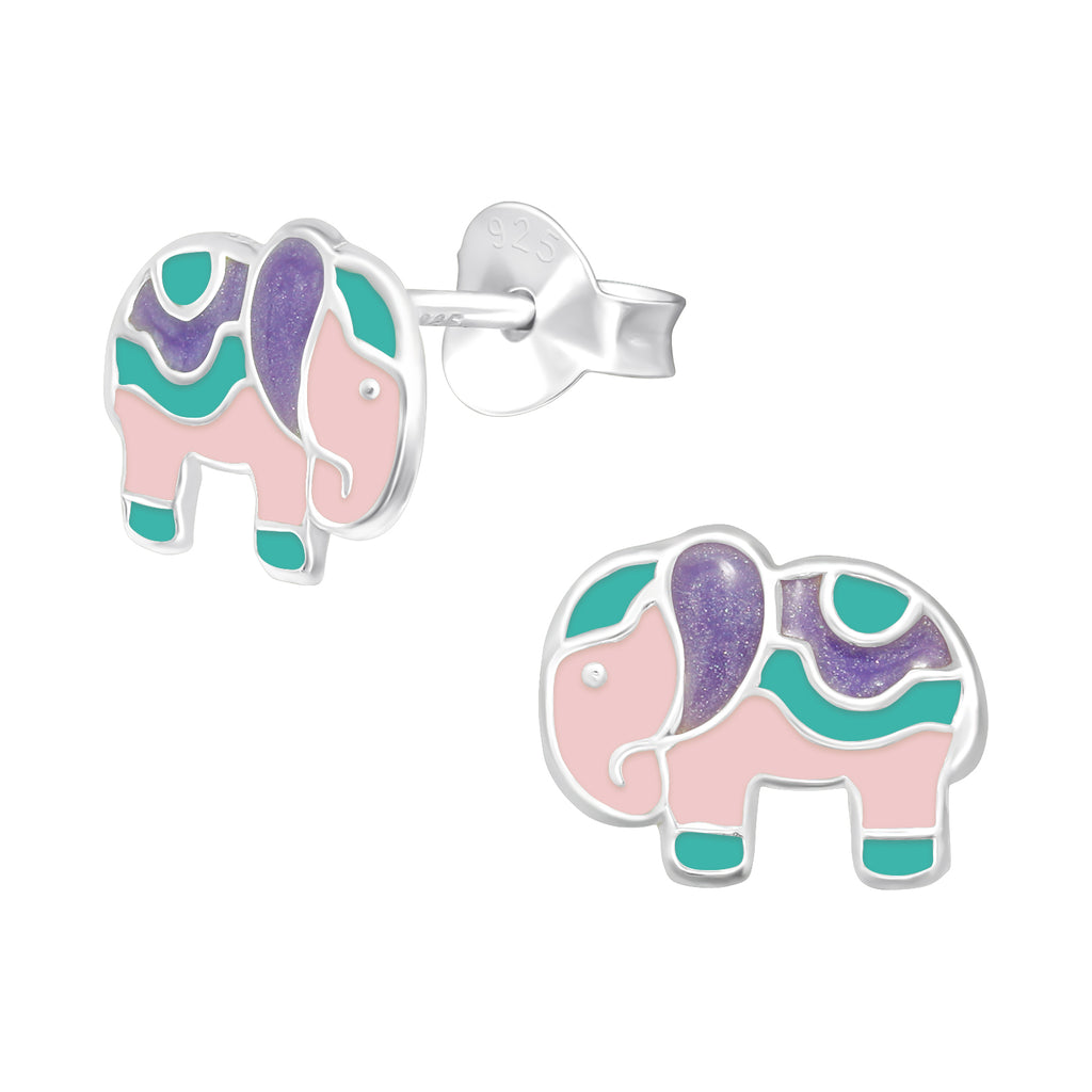 Girls Pink Multi Elephant Sterling Silver Stud Earrings 10mm