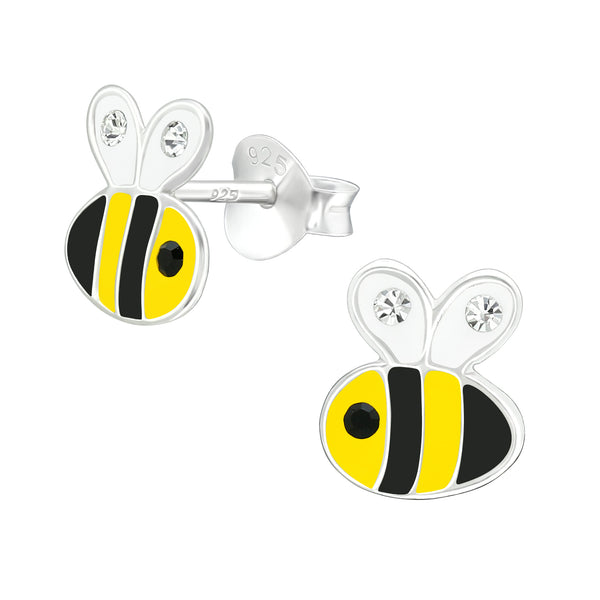 Girls Yellow Bumble Bee Crystal Sterling Silver Stud Earrings