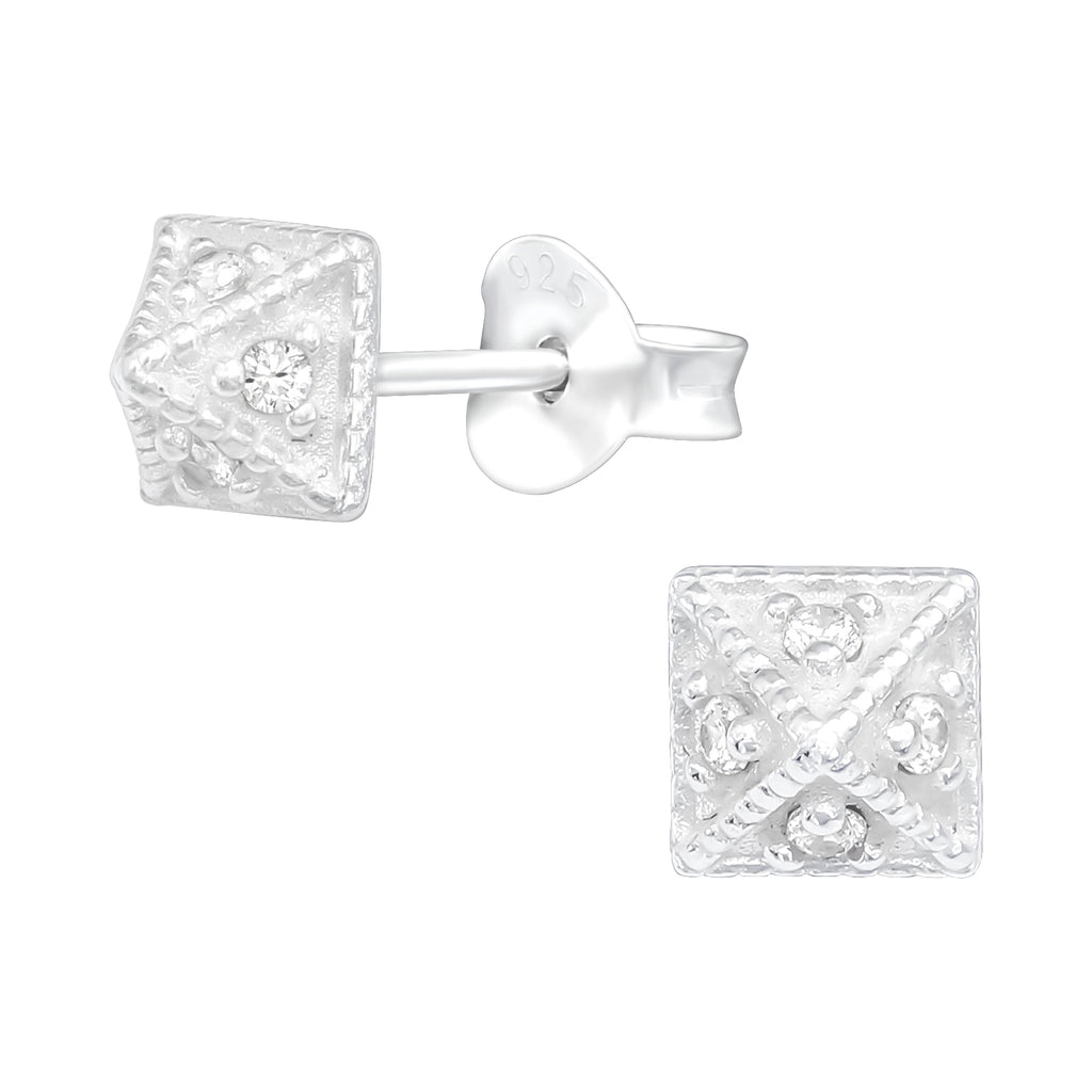 Silver Crystal Pyramid Crystal Sterling Silver Stud Mini Earrings