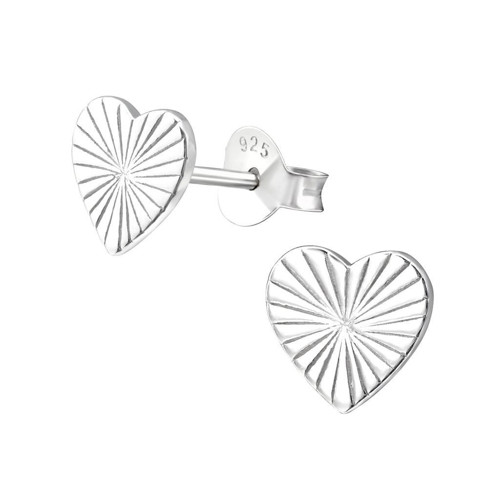 Lined Heart Engraved Sterling Silver Stud Earrings 7mm