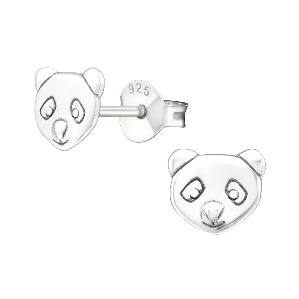 Engraved Panda Head Sterling Silver Stud Earrings