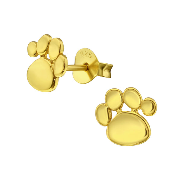 Yellow Gold Plated Paw Sterling Silver Stud Earrings