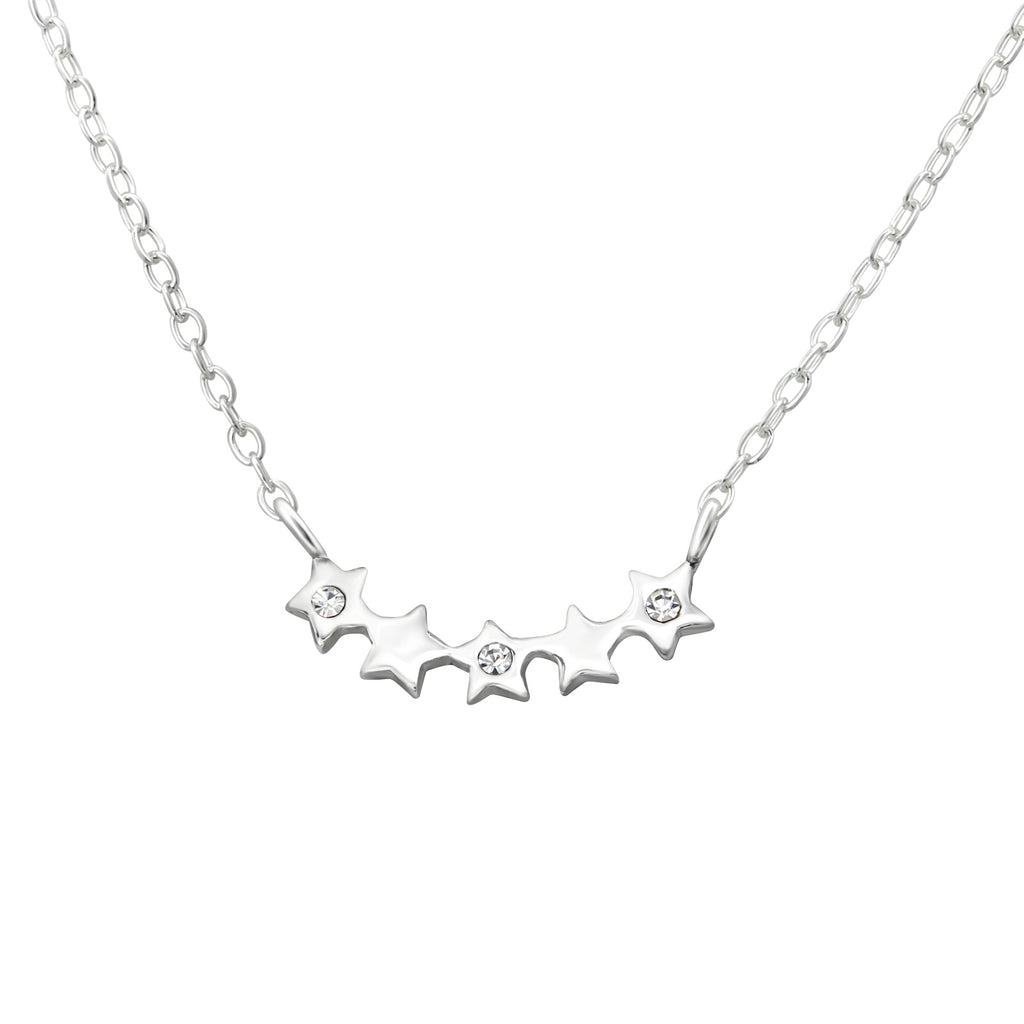 Crystal Five Star Sterling Silver Dainty Necklace